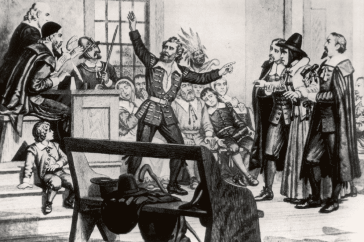 An illustration of one of the Salem witch trials